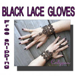 Black lace gloves Calypso