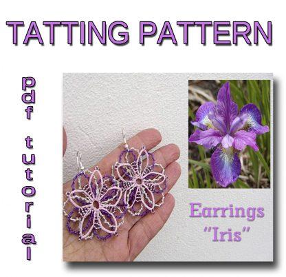 Earrings Iris tatting pattern