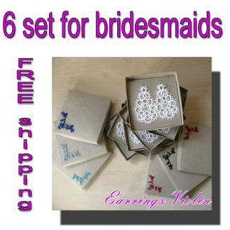 Six pairs earrings for bridesmaids