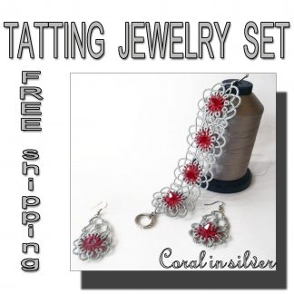 Coral in silver jewelry set