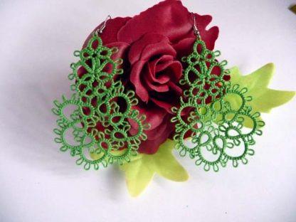 Green tatting earrings Spring
