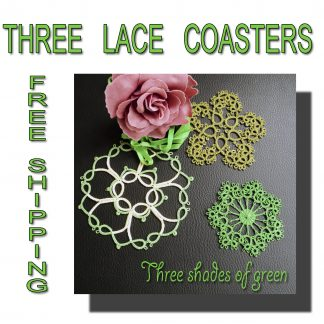 Three doilies shades of green