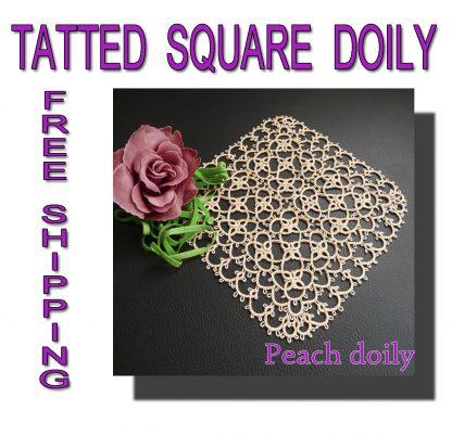 Tatting square Peach doily