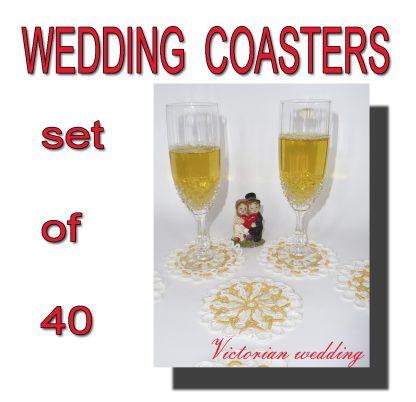Set of 40 wedding coasters