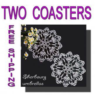 Two wedding coasters Sherbourg umbrellas